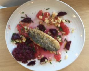 Sea Bass with Beetroot, Apple and Grapefruit Salad